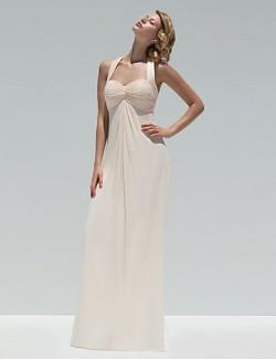 Long Floor Length Chiffon Bridesmaid Dress A Line Halter With Buttons Criss Cross