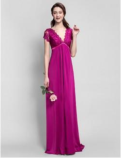 Long Floor Length Jersey Bridesmaid Dress Sheath Column V Neck Plus Size Petite With Lace