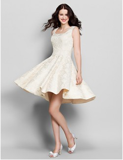 Short Knee Length Lace Bridesmaid Dress A Line Square With Lace