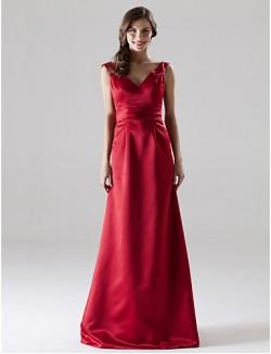 Long Floor Length Satin Bridesmaid Dress A Line Princess V Neck Straps Plus Size Petite With