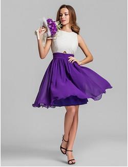 Short Mini Georgette Bridesmaid Dress A Line Jewel Plus Size Petite With Criss Cross Ruching