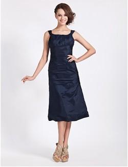 Tea Length Taffeta Bridesmaid Dress A Line Princess Square Plus Size Petite With Side Draping