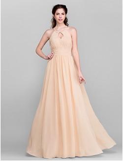 Long Floor Length Chiffon Bridesmaid Dress A Line Jewel Plus Size Petite With Draping Sash Ribbon Side Draping Ruching