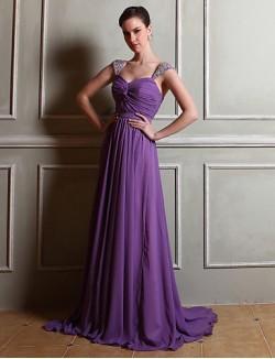 Long Floor Length Chiffon Bridesmaid Dress Sheath Column Straps With Beading Side Draping