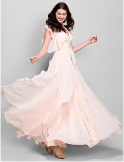 Ankle Length Chiffon Bridesmaid Dress A Line V Neck With Cascading Ruffles