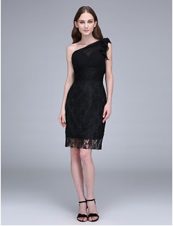 Short Knee Length Chiffon Lace Bridesmaid Dress Sheath Column Sexy One Shoulder With Lace Ruching