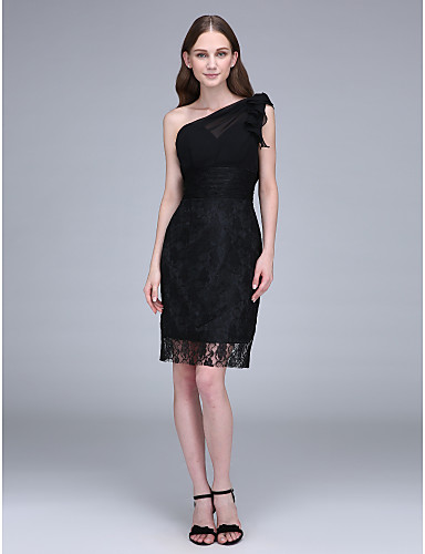 2017 Short Knee Length Chiffon Lace Bridesmaid Dress Sheath Column Sexy One Shoulder With Lace Ruching