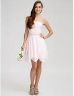 Short Mini Chiffon Bridesmaid Dress A Line Strapless With Beading Crystal Detailing Sash Ribbon Criss Cross