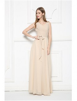 Long Floor Length Chiffon Bridesmaid Dress A Line V Neck With Sash Ribbon Side Draping