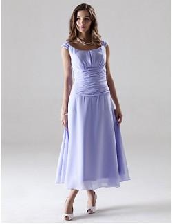 Tea Length Chiffon Bridesmaid Dress A Line Princess Off The Shoulder Plus Size Petite With Ruching