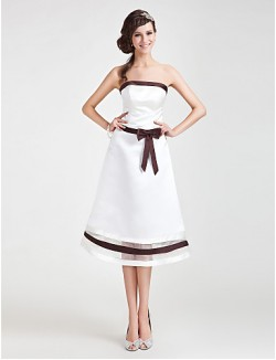 Tea Length Organza Satin Bridesmaid Dress A Line Princess Strapless Plus Size Petite With Bow Sash Ribbon