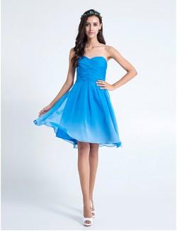 Short Knee Length Chiffon Bridesmaid Dress Color Gradient A Line Sweetheart Plus Size Petite With Criss Cross