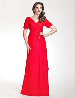 Long Floor Length Chiffon Bridesmaid Dress Sheath Column V Neck Plus Size Petite WithFlower Ruching Side Draping