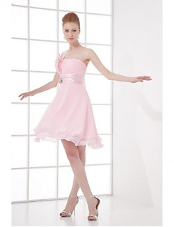 Short Knee Length Chiffon Bridesmaid Dress A Line Sexy One Shoulder With Crystal Detailing Draping
