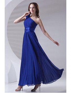 Ankle Length Chiffon Bridesmaid Dress A Line Sexy One Shoulder With Draping Flower Pleats