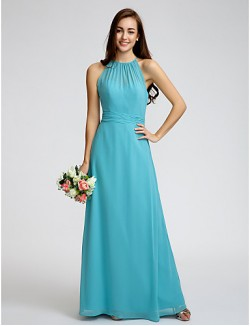 Ankle Length Georgette Bridesmaid Dress Sheath Column Jewel With Ruching