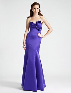 Long Floor Length Satin Bridesmaid Dress Trumpet Mermaid Strapless Sweetheart Plus Size Petite WithFlower Side