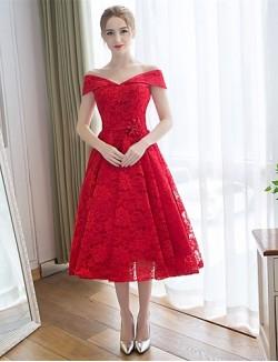 Tea Length Lace Satin Bridesmaid Dress A Line Off The Shoulder With Lace