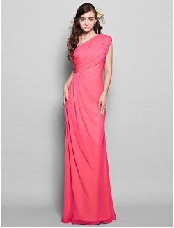 Long Floor Length Chiffon Bridesmaid Dress Sheath Column Sexy One Shoulder Plus Size Petite With Side Draping