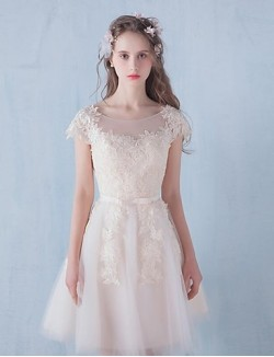 Short Mini Tulle Bridesmaid Dress A Line Scoop With Lace