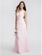 Long Floor Length Chiffon Bridesmaid Dress Sheath Column Sexy One Shoulder With Beading Side Draping