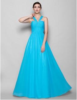 Long Floor Length Chiffon Bridesmaid Dress Sheath Column Halter Plus Size Petite With Criss Cross