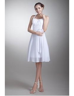 Short Knee Length Chiffon Bridesmaid Dress A Line Halter With Bow