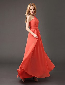 Long Floor Length Chiffon Bridesmaid Dress A Line Sexy One Shoulder With Draping