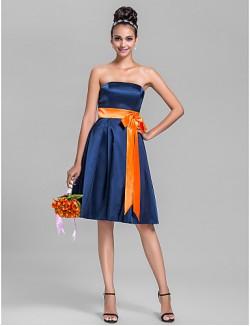 Short Knee Length Stretch Satin Bridesmaid Dress A Line Strapless Plus Size Petite With Bow Sash Ribbon
