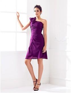 Short Knee Length Chiffon Bridesmaid Dress Sheath Column Sexy One Shoulder Plus Size Petite With Side Draping