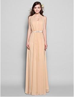 Long Floor Length Chiffon Bridesmaid Dress Sheath Column Halter Plus Size Petite WithBow Crystal Detailing Draping