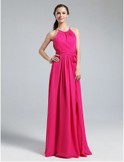 Long Floor Length Chiffon Bridesmaid Dress Sheath Column Jewel Plus Size Petite With Sash Ribbon Ruching Pleats