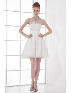 Short Mini Taffeta Bridesmaid Dress A Line Strapless With Beading Bow Lace