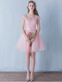 Short Mini Tulle Bridesmaid Dress A Line Jewel With Bow Lace