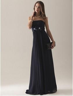 Empire Strapless Long Floor Length Chiffon Over Satin Bridesmaid Dress