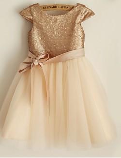 Princess Short Knee Length Flower Girl Dress Satin Tulle Sequined Short Sleeve Scoop With