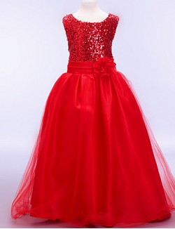 A Line Ball Gown Ankle Length Flower Girl Dress Cotton Tulle Sequined Polyester Sleeveless Jewel With