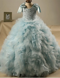 Ball Gown Sweep Brush Train Flower Girl Dress Lace Tulle Sleeveless Jewel With