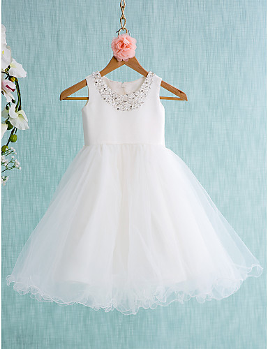 Ball Gown Short Knee Length Flower Girl Dress Satin Tulle Sleeveless Jewel With
