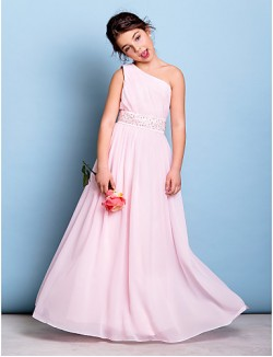 Long Floor Length Chiffon Junior Bridesmaid Dress A Line Sexy One Shoulder With Beading Sash Ribbon Side Draping