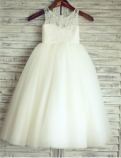 Princess Long Floor Length Flower Girl Dress Lace Satin Tulle Sleeveless Scoop With