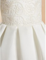 A Line Ankle Length Flower Girl Dress Lace Satin Sleeveless Jewel With Lace