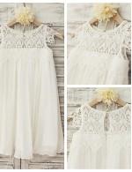 Sheath Column Short Knee Length Flower Girl Dress Chiffon Lace Short Sleeve Scoop With