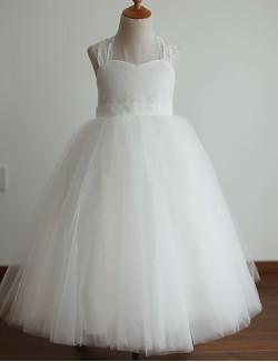 Princess Long Floor Length Flower Girl Dress Lace Satin Tulle Sleeveless Halter With