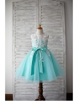 A Line Short Knee Length Flower Girl Dress Lace Tulle Sleeveless Jewel With