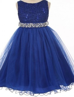 Ball Gown Tea Length Flower Girl Dress Lace Tulle Sleeveless Jewel With Crystal Detailing Lace