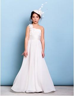 Long Floor Length Chiffon Junior Bridesmaid Dress A Line Sexy One Shoulder With Flower Sash Ribbon Criss Cross Ruching