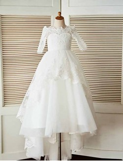 A Line Sweep Brush Train Flower Girl Dress Lace Tulle Half Sleeve Bateau With Appliques Beading