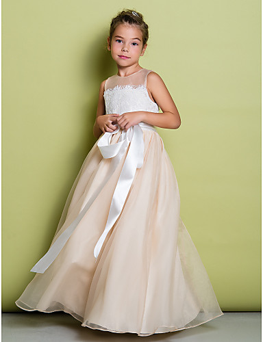 A Line Long Floor Length Flower Girl Dress Lace Organza Sleeveless Jewel With Lace