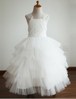 Ball Gown Ankle Length Flower Girl Dress Lace Tulle Sleeveless Straps With